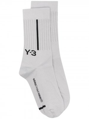 Носки вязки интарсия с логотипом Y-3. Цвет: серый