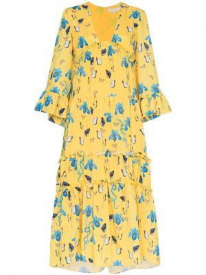 Платье с ирисами Borgo De Nor. Цвет: желтый