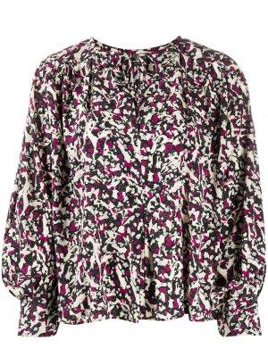 Блузка с завязками и принтом Isabel Marant. Цвет: черный