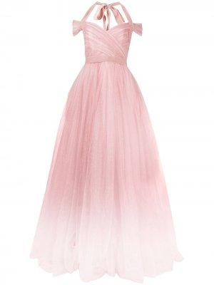 Платье из тюля с запахом и эффектом омбре Jenny Packham. Цвет: розовый