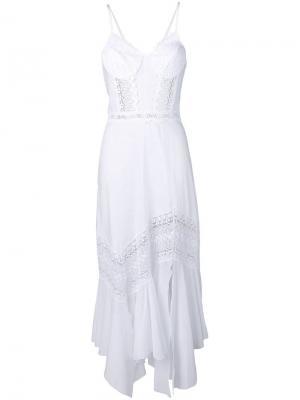 Платье бюстье с кружевными вставками Charo Ruiz. Цвет: белый