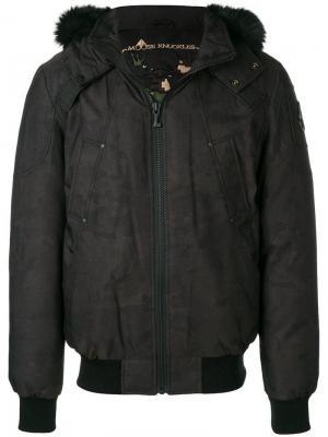 Fur hood trim padded jacket Moose Knuckles. Цвет: коричневый