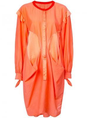 Платье-рубашка оригинального кроя Tsumori Chisato. Цвет: оранжевый