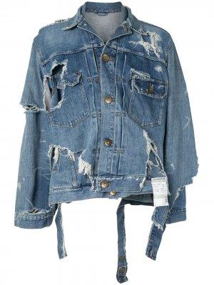 Джинсовая куртка Broken Layer Maison Mihara Yasuhiro. Цвет: синий