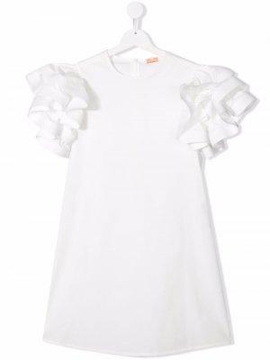 Платье А-силуэта с оборками Elisabetta Franchi La Mia Bambina. Цвет: белый