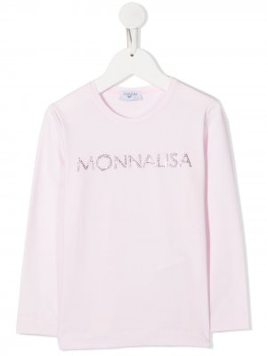 Топ с длинными рукавами и логотипом Monnalisa. Цвет: розовый