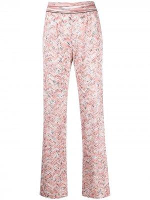Расклешенные брюки с узором зигзаг Missoni. Цвет: розовый