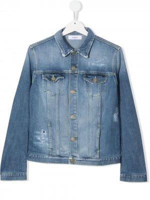 Джинсовая куртка с эффектом потертости Dondup Kids. Цвет: синий