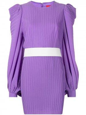 Платье мини с драпировкой и поясом Solace London. Цвет: фиолетовый