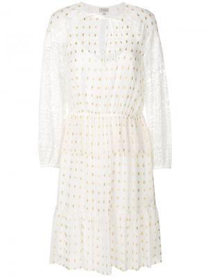 Платье с кружевными рукавами Temperley London. Цвет: белый