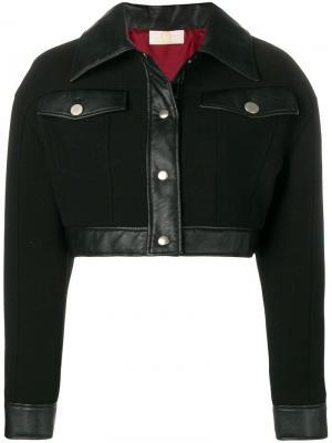Укороченная куртка с кожаной отделкой Sara Battaglia. Цвет: черный