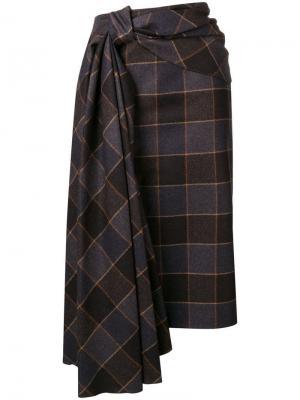 Плиссированная юбка-карандаш Mulberry. Цвет: коричневый