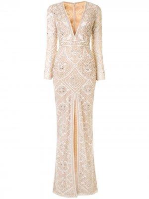 Декорированное платье с длинными рукавами Zuhair Murad. Цвет: нейтральные цвета