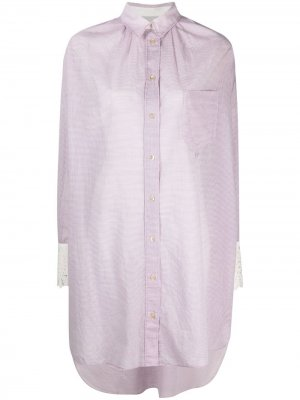Короткое платье-рубашка в клетку Forte. Цвет: фиолетовый