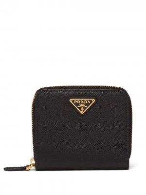 Маленький кошелек из сафьяновой кожи Prada. Цвет: черный