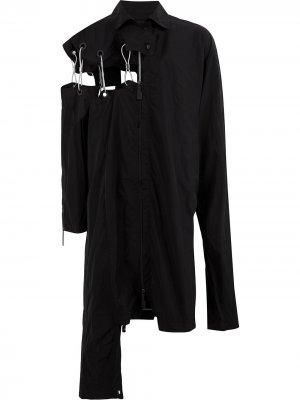 Пальто асимметричного кроя с вырезными деталями A-COLD-WALL*. Цвет: черный