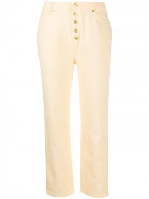 Укороченные брюки с пуговицами House of Sunny. Цвет: желтый