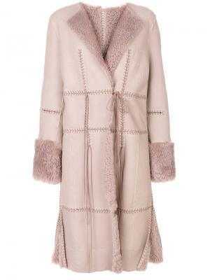 Дубленка с декоративной строчкой Alexander McQueen. Цвет: розовый