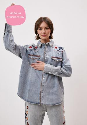 Рубашка джинсовая One Teaspoon. Цвет: голубой
