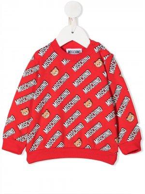 Свитер с принтом Moschino Kids. Цвет: красный