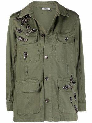 Декорированная куртка в стиле милитари LIU JO. Цвет: зеленый