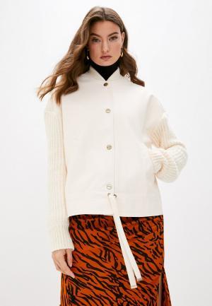 Куртка кожаная Twinset Milano. Цвет: бежевый