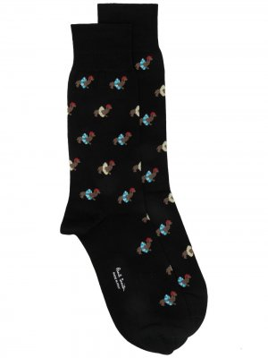 Носки Dachshund с принтом PAUL SMITH. Цвет: черный