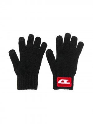 Перчатки с логотипом Diesel Kids. Цвет: черный