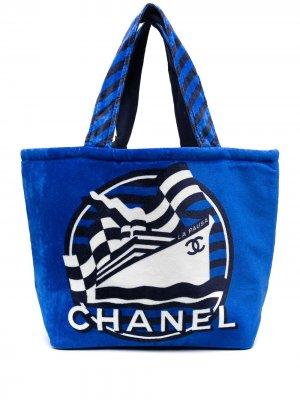 Пляжная сумка-тоут La pausa Chanel Pre-Owned. Цвет: синий
