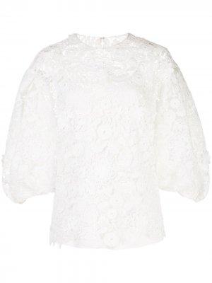 Кружевная блузка Carolina Herrera. Цвет: белый