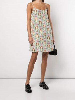 Платье-комбинация с принтом Banks Margot Sandy Liang. Цвет: margot print mint