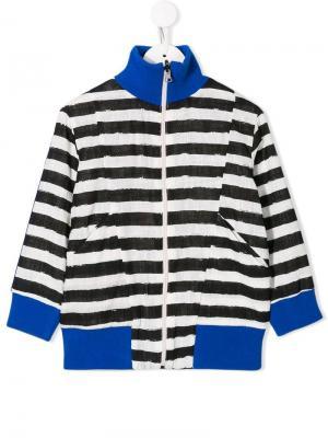 Куртка-бомбер в полоску Noé & Zoë. Цвет: белый