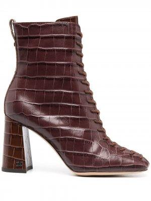 Ботильоны на шнуровке с тиснением под кожу крокодила Sam Edelman. Цвет: серый