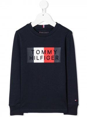 Толстовка с круглым вырезом и логотипом Tommy Hilfiger Junior. Цвет: синий
