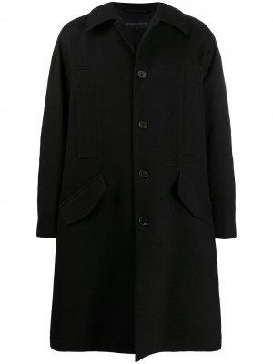 Однобортное пальто Ann Demeulemeester. Цвет: черный