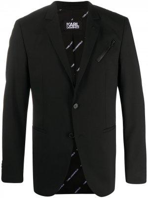 Однобортный пиджак Karl Lagerfeld. Цвет: черный