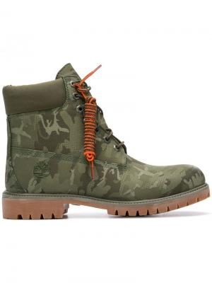 Camouflage lace-up boots Timberland. Цвет: зеленый