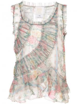 Прозрачный топ со сборками Anna Sui. Цвет: нейтральные цвета