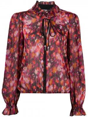 Блузка с бантом и цветочным принтом Patrizia Pepe. Цвет: розовый