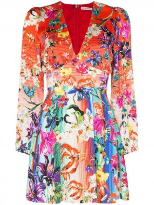 Платье мини с цветочным принтом Mary Katrantzou. Цвет: красный