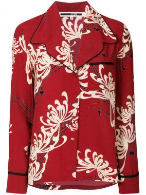 Рубашка в пижамном стиле McQ Alexander McQueen. Цвет: красный
