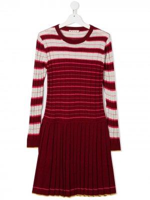 Трикотажное платье в полоску Marni Kids. Цвет: красный