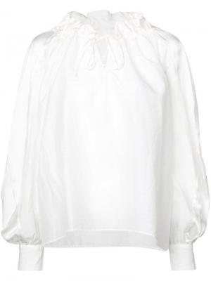Свободная блузка с горловиной на шнурке Tsumori Chisato. Цвет: белый