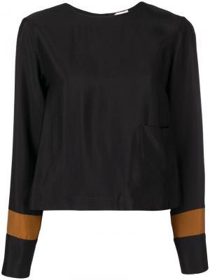 Блузка с манжетами контрастной полоской Alysi. Цвет: черный