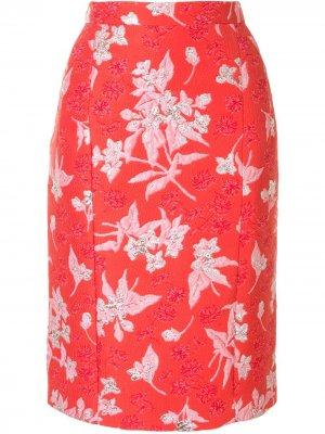 Жаккардовая юбка-карандаш с цветочным узором Delpozo. Цвет: красный