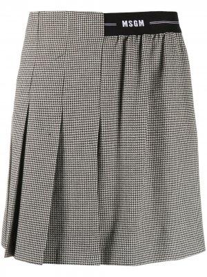 Плиссированная юбка с логотипом на поясе MSGM. Цвет: черный