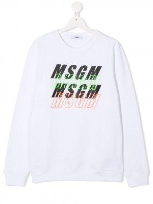 Свитер с логотипом Msgm Kids. Цвет: белый