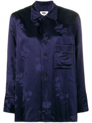 Рубашка в пижамном стиле с цветочными узорами Mm6 Maison Margiela. Цвет: синий