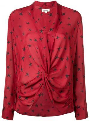 Блузка со звездным принтом L'agence. Цвет: красный