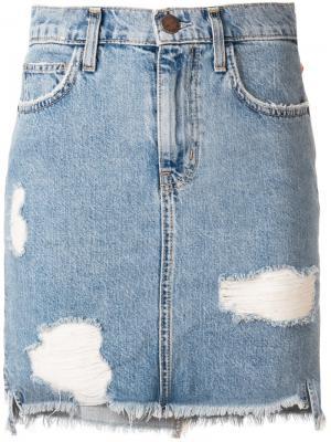 Джинсовая мини-юбка с рваными деталями Current/Elliott. Цвет: синий